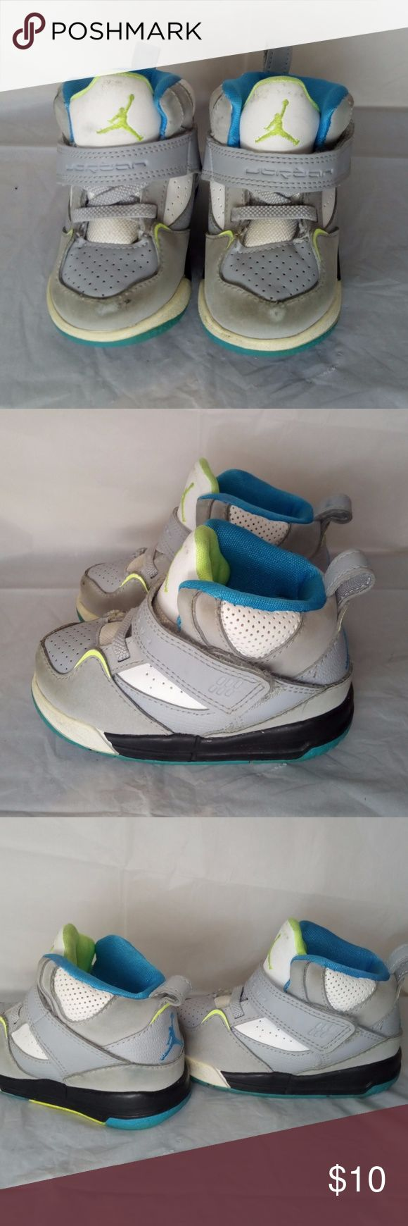 Baby Toddler Jordan high top shoes size 5c Boys' toddler Jordan high top shoes gray and white size 5c Jordan Shoes Baby & Walker