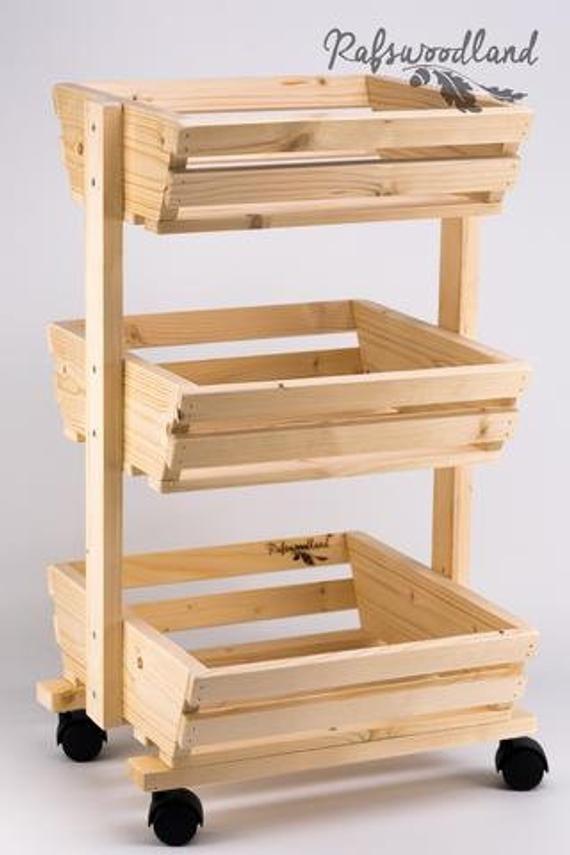 Woode Rack On The Wheels Vegetable