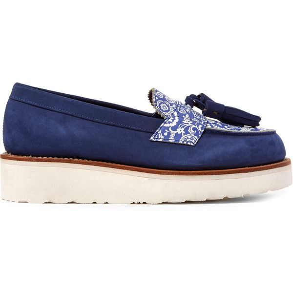Grenson for Liberty London Blue Suede Liberty Print Clara Loafers (9,950 MXN) ❤ liked on Polyvore featuring men's fashion, men's shoes, men's loafers, mens blue suede shoes, mens slipon shoes, mens loafers shoes, mens tassel loafer shoes and mens tassel shoes