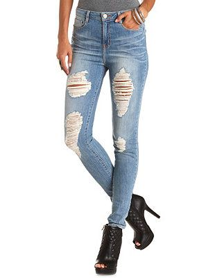 "Refuge ""Hi-Rise Skinny"" Destroyed Med Wash Jeans: Charlotte Russe - Buy One Get One For $10 Size 1 Autumn Coupons - http://www.savings.com/m-Charlotte-Russe-coupons.html?searchString=charlotte+russe"