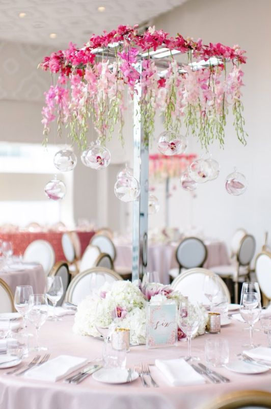 Photo: Mango Studios; pink wedding centerpiece idea