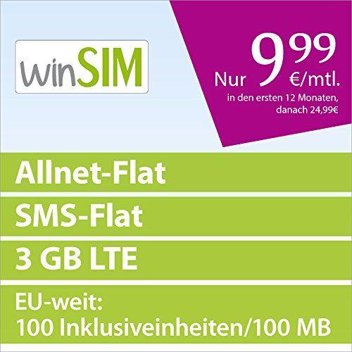 http://ift.tt/1T8o8KU winSIM LTE 3000 [SIM Micro-SIM und Nano-SIM] 24 Monate Laufzeit (3 GB LTE mit max. 50 MBit/s Telefonie-Flat SMS-Flat EU-Weit: 100 Inklusiveinheiten 100 MB Internetvolumen 999 Euro/Monat in den ersten 12 Monaten danach 2499 Euro) O2-Netz &(bibemip)#