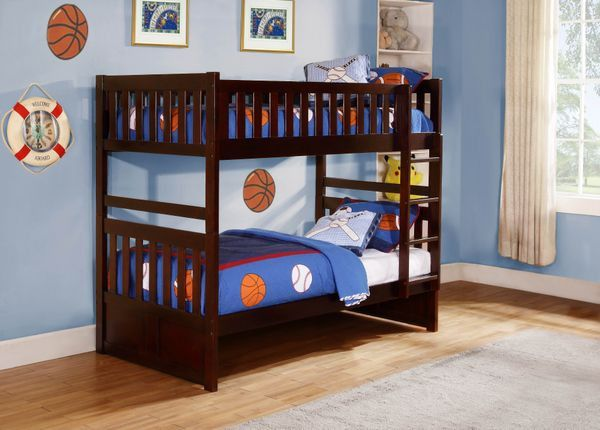 Rowe Twin/Twin Bunked Bed B2013DC-1 $342 Maximizing sleep space is achieved with the stylish Rowe Collection. This transitional bunk bed is featured in a dark cherry finish making it an appropriate choice for a number of youth bedroom settings. With twin over full and twin over twin configurations, the design allows you to choose the size that is right for your family. Two under bed options are available - Toy Boxes that provide additional storage space or twin trundle that offers