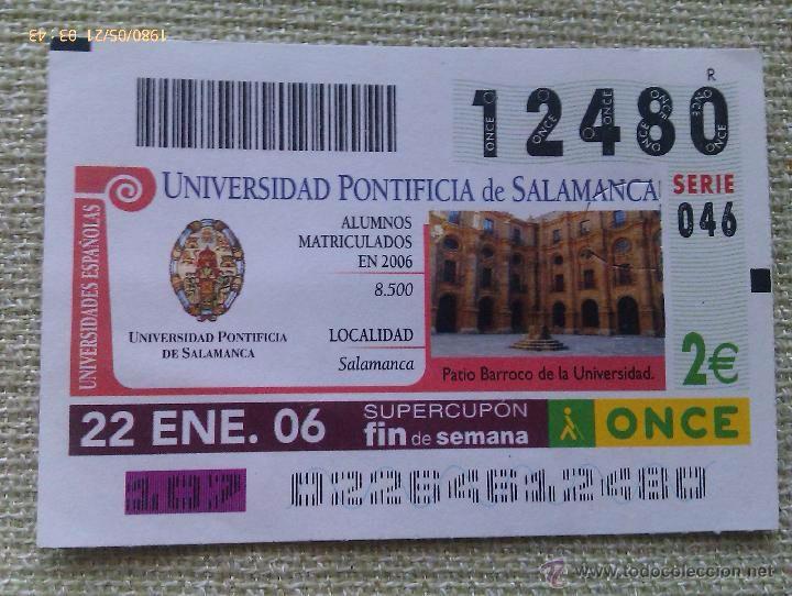 Cupón ONCE. Universidad Pontificia de Salamanca. Número 12480. 2 €uros. 22-1-2006. España