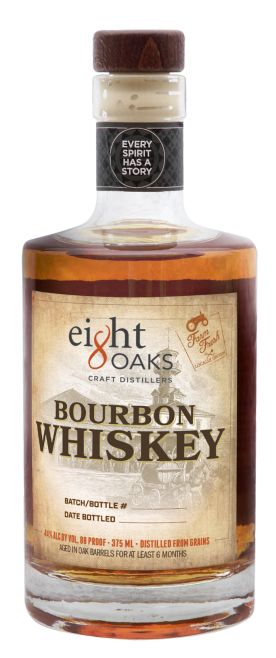 Eight Oaks Bourbon begins life as non-GMO corn, wheat and rye raised on Eight Oaks farmland in the Lehigh Valley. This mash is fresh milled on site the day we cook it and then double distilled and aged in American White Oak barrels. The mash bill creates a soft, smooth, grain forward bourbon with notes of nutmeg and spice.