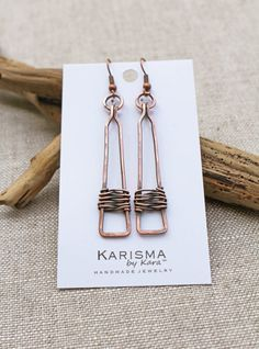 Copper Rectangle Drop Earrings Oxidized by Karismabykarajewelry
