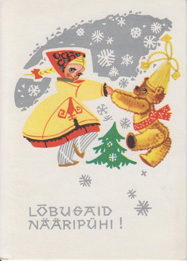 kritseldis A New Year postcard by Asta Vender, 1964