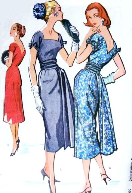 1950s Stunning Slim Cocktail Party Dress Pattern McCalls 3959 Vintage Sewing Pattern Slim Square Neckline V Back Dress With or without Panel and Cummerbund Bust 34