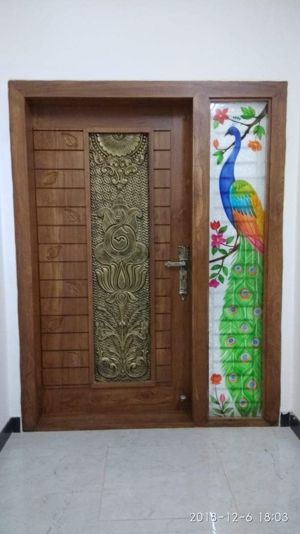 Door Door Design Brown Colour With Glass Window And Glass Pickwick