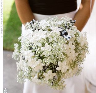 stephanotis and baby's breath --- Love this bouquet with the baby's breath and the other flower is basically my sisters name...gotta have it