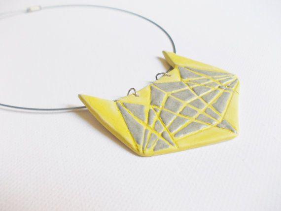 Statement necklace//Ceramic necklace//Porcelain by CherishCeramics