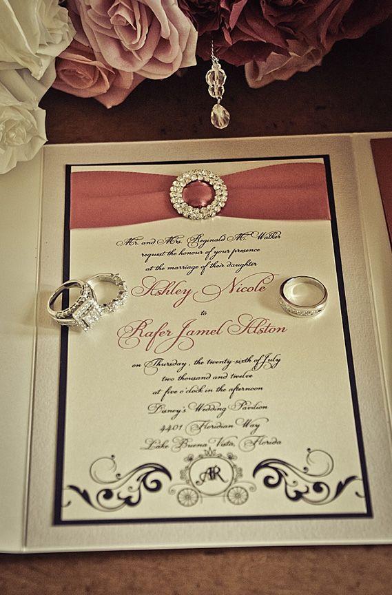 The coupleu0027s jeweled wedding invitation set the