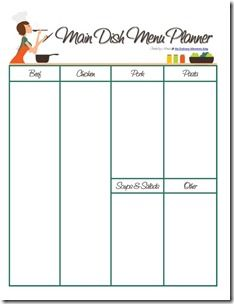 Main Dish Menu Planner {also a pdf file that you can edit/save}. Keep track of all of the meals you eat {and love}.