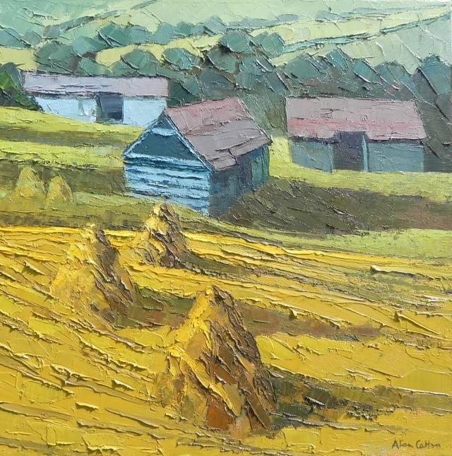 Transylvania - Old Barns in the Meadows at Zalanpatak - Messum's Fine Art Est.1963. - http://messums.com/artworks/view/54877/Transylvania_Old_Barns_in_the_Meadows_at_Zalanpatak