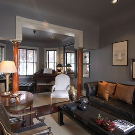 Grey Walls With Brown Leather Furniture Living Room Dream Houses Pinterest