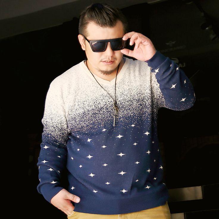 Free shipping ! Autumn winter men's clothing fashion sweater  plus size plus size gradient sweater / XXL-6XL