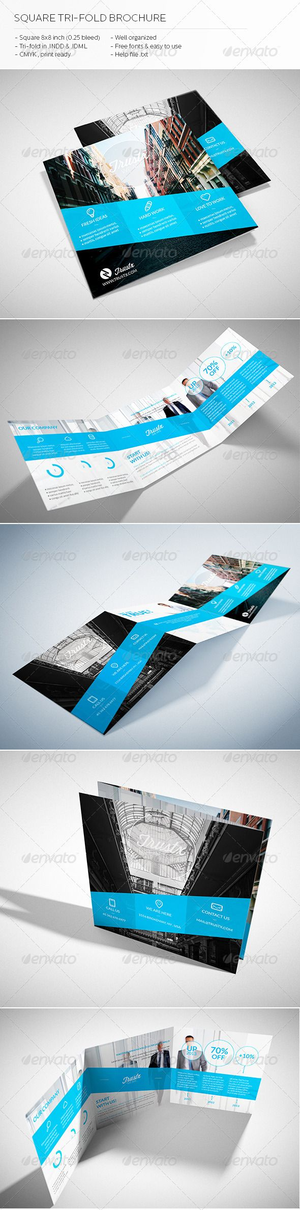 Trustx - Square Tri-fold Brochure  -  InDesign Template • Only available here! →…