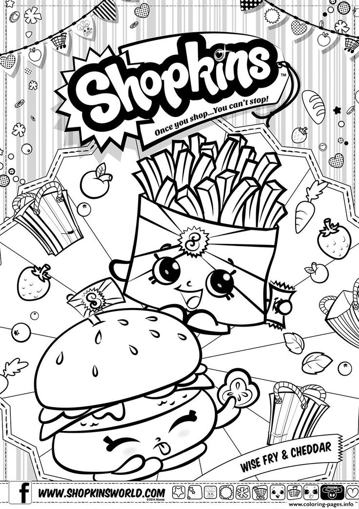 Print Shopkins Wise Fry Cheddar Coloring Pages