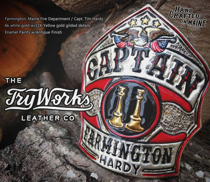 This shield was handcrafted for Capt. T. Hardy  Farmington Maine Fire Department.  6k white gold with 22k yellow gold details.  Antique finish with enamel paints.  Made of Herman Oak leather thus front is certain to last long past his next promotion.  Thanks for the business Tim!  I hope it serves you well.  TryWorks Leather Co.  Bespoke Fire Helmet Shields of the highest quality.  Handcrafted in Maine. #fireshield #firefront  #firefighterowned #handcrafted #firehelmet #customleather…