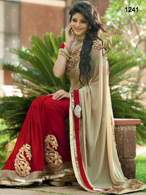 India Nylon Plain  Satin Chiffon Saree Bollywood Sarees Online on Shimply.com