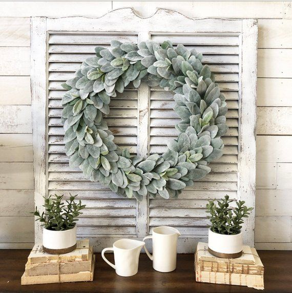 Lambs Ear Wreath Greenery Spring Large Farmhouse Decor Wall