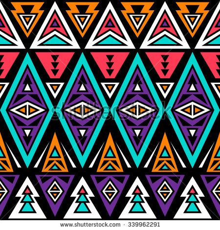 neon color tribal seamless pattern. aztec fancy abstract geometric art print. ethnic hipster backdrop.  Wallpaper, cloth design, fabric, paper, wrapping, textile design template.