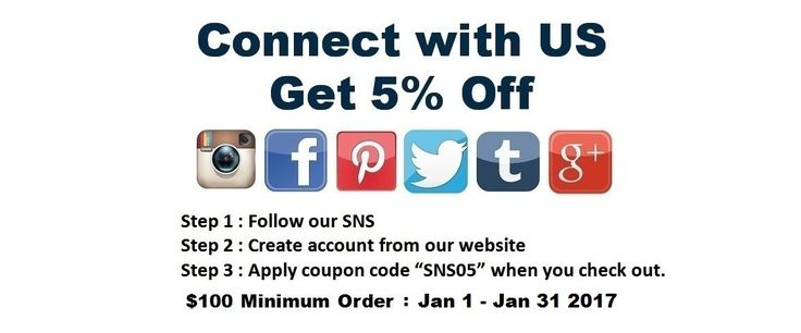 """Jan 2017 Promotion Connect with US Get 5% Off ($100 Minimum order) Step 1 : Follow our SNS Step 2 : Create account from our website Step 3 : Apply coupon code""""SNS05""""when you check out. (Limited Time Only : Until End of Jan 2017) Instagram : BarberSalonCom Facebook : BarberSalonCom Twitter : BarberSalonCom Pinterest : BarberSalonCom Google+ : Google.com/+IrvingtonBeauty Tumblr : barbersaloncom.tu... Visit www.BarberSalon.com One stop shopping for Professional Barber Supply, Salon Supply"""