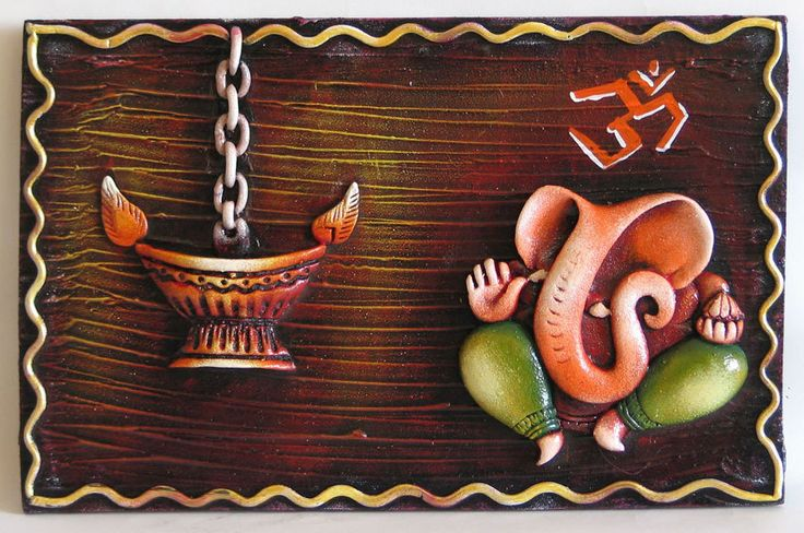 Lord Ganesha with Om and Diya on a Wooden Board - Wall Hanging (Poly Resin))