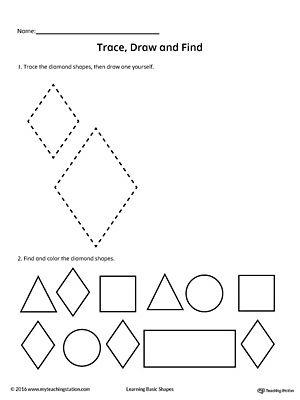 trace draw and find diamond shape shapes worksheets shape worksheets for preschool shapes. Black Bedroom Furniture Sets. Home Design Ideas