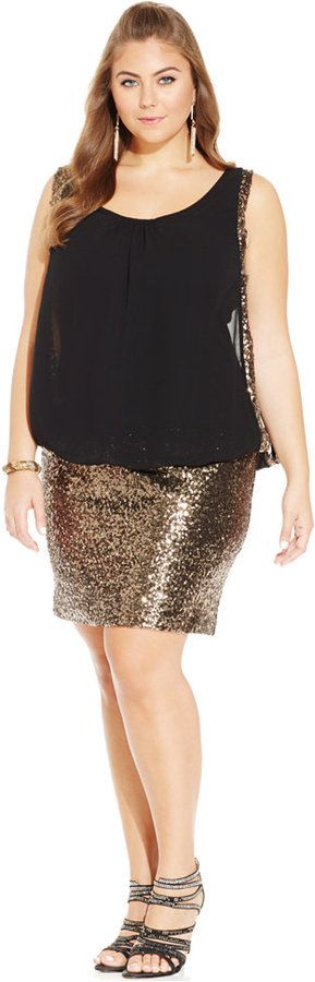 Plus Size Sequined Bodycon Party Dress