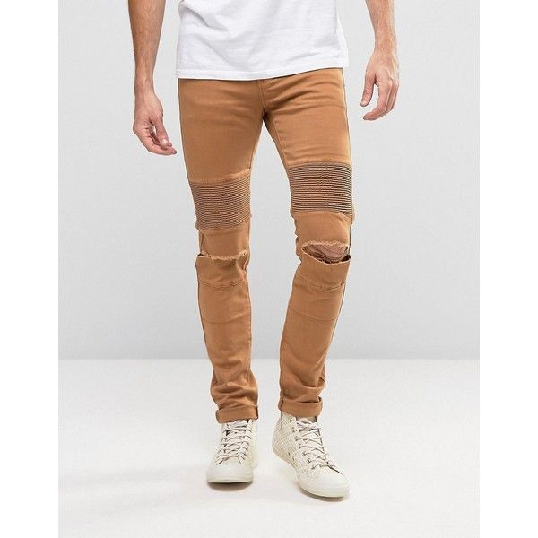 Sixth June Skinny Biker Jeans With Ripped Knees ($78) ❤ liked on Polyvore featuring men's fashion, men's clothing, men's jeans, tan, tall mens jeans, mens distressed jeans, mens super skinny jeans, mens torn jeans and mens ripped jeans