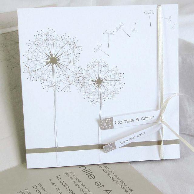 Faire part mariage blanc et beige FPH027 | Flickr: partage de photos!