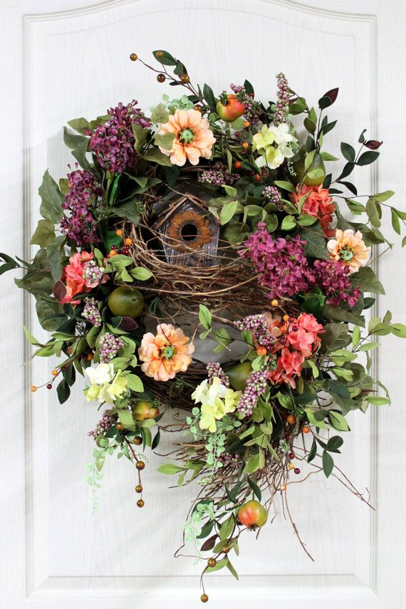Front Door Wreath, Spring Wreath, Country Wreath, Hydrangeas, Rustic Birdhouse, Great for Country Decor via Etsy.