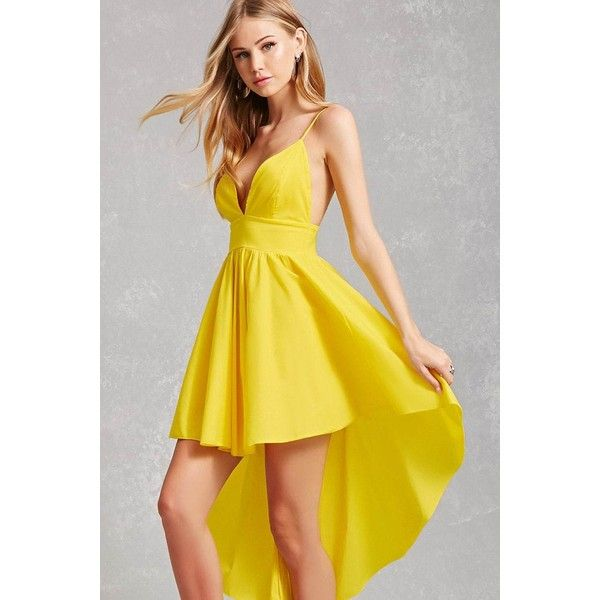 Forever21 High-Low Cami Dress ($35) ❤ liked on Polyvore featuring dresses, yellow, yellow skater skirt, full length dresses, v neck dress, v-neck dresses and hi low dress