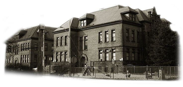 Stinson Elementary School - in the process of being converted into condominiums. The cornerstone was laid in September of 1894. Designed by Alfred W. Peene, the building measured 93 by 88 feet, being built of brick and brown Credit Valley stone.