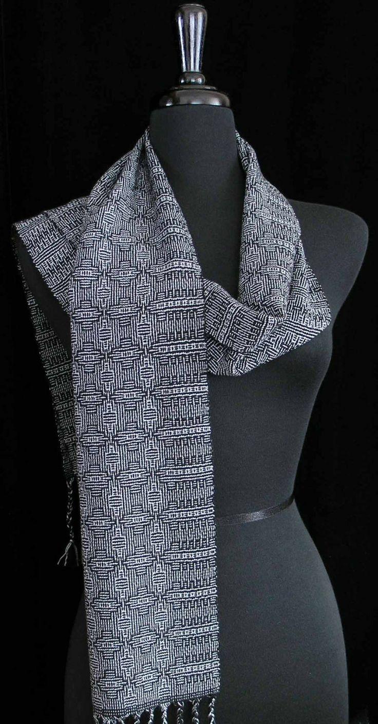 Handwoven Scarf Tencel Wool Silver Black Scarf by FiberFusion, $110.00
