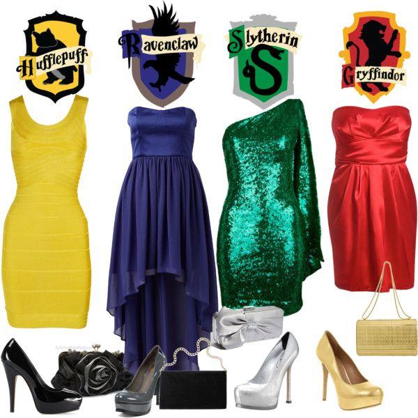 Harry Potter themed prom dress??? :) @Aimee Allcock @Jessie Allcock @Manda Greenmyer  Jess- Yellow; Alex - Red; Aim - Blue; Me - Green <3.