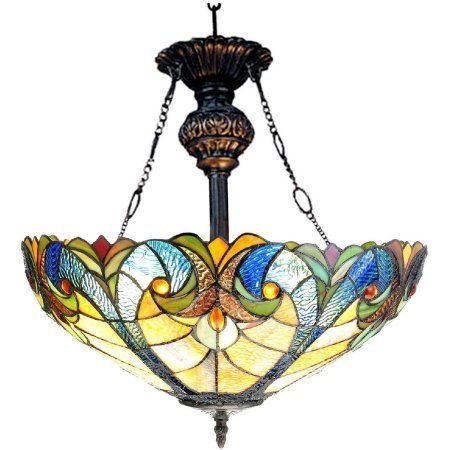 Chloe Lighting Liaison Tiffany-Style 2-Light Victorian Inverted Ceiling Pendant with 18 inch Shade, Multicolor