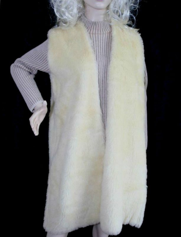 Vintage 1970 Hand Made Faux Fur Gillet Waistcoat Size 12 Hippy