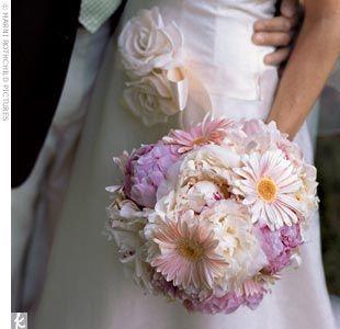 light pink Peonies and Gerbera Daisies