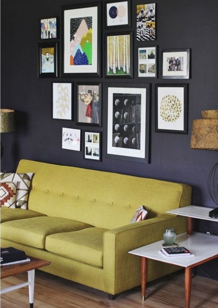 Love the colour coordination between the prints and the lime couch!