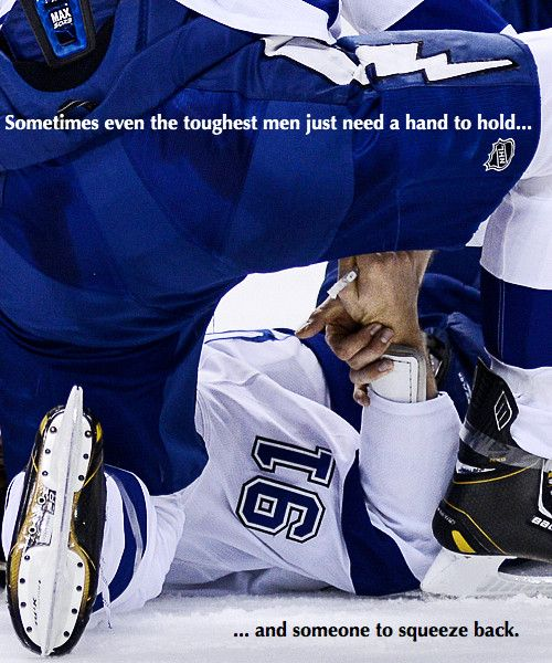 Sometimes Even The Toughest Men Just Need A Hand To Hold... And Someone To Squeeze Back! #Stamkos #Salo