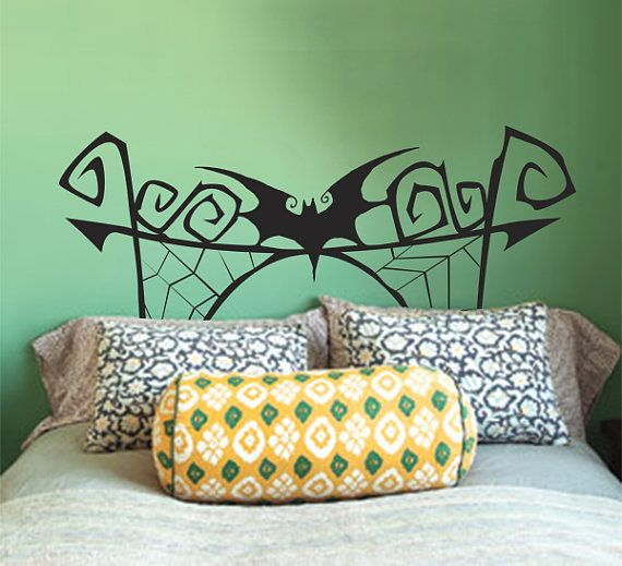 "A ""Nightmare Before Christmas"" wall decal that looks like a headboard. Very creative and works well if you dislike headboards without sacrificing appearance."