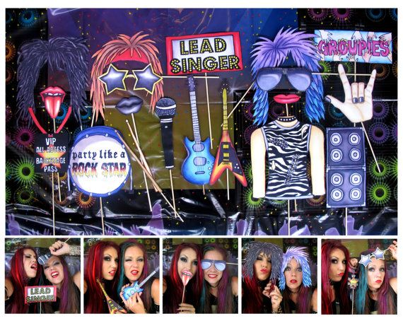 Rock Star photo booth props  perfect for your birthday party theme or to rock out by thepartyevent, $14.99
