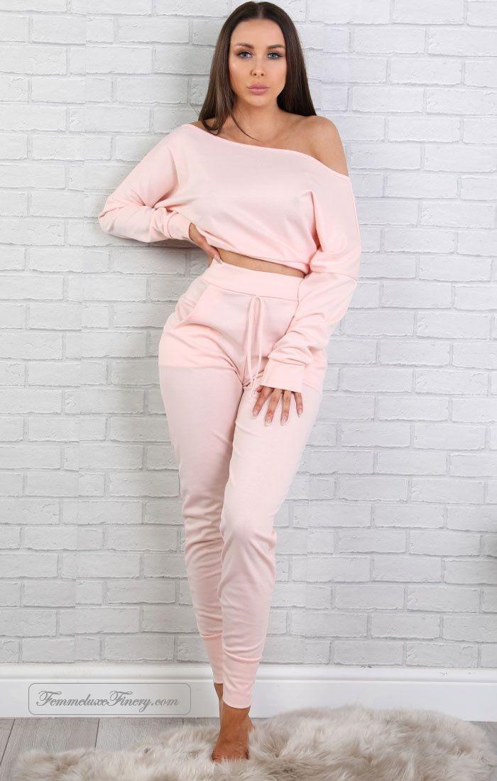 pink off shoulder loungewear set - blake - femmeluxefinery https://www.femmeluxefinery.co.uk/pink-off-shoulder-loungewear-set-blake.html #femmeluxefinery #shopping #cheap #online #uk #dress #pink #two_piece_set #loungewear #off_shoulder_top #cuffed_jogger_bottoms
