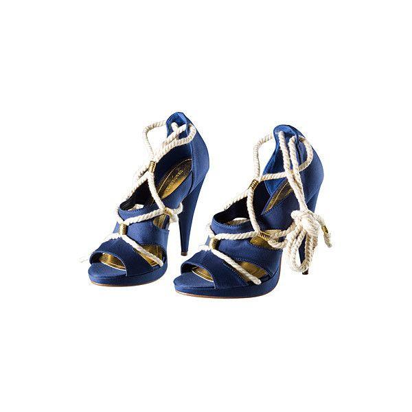 "Schuhe marineblau ""H&M"" ❤ liked on Polyvore featuring shoes, pumps, heels, обувь, high heels, nautical, h&m, high heel shoes, h&m shoes and high heel pumps"