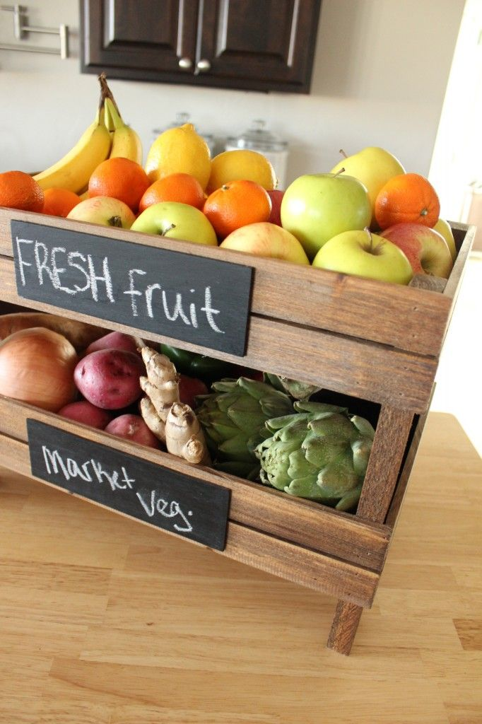 DIY Stackable Fruit Crate I The Wood Grain Cottage- I like how this would give me more fruit/veggie room without taking up more counter space.