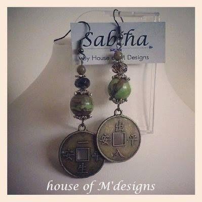 Coin beaded Bronze earrings