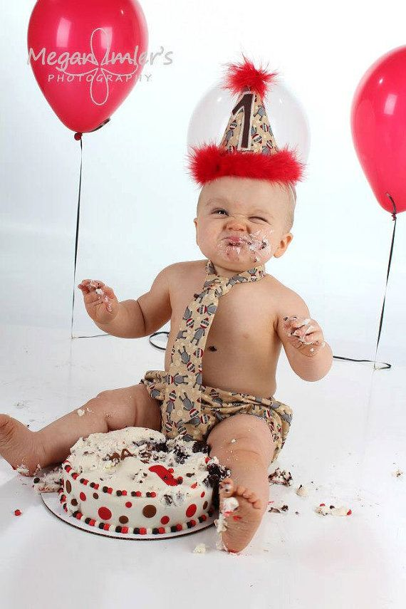 Baby Boy/ Toddler Sock Monkey Cake Smash Outfit  for First Birthday.  Includes:  Party Hat, Tie and Diaper Cover., $40.00