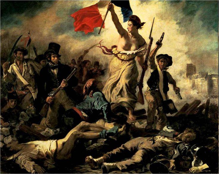 """ROMANTICISM~ Eugene Delacroix, Liberty Leading the People, 1830. Oil on Canvas, 8' 6"""" X 10' 8"""". Louvre, Paris."""